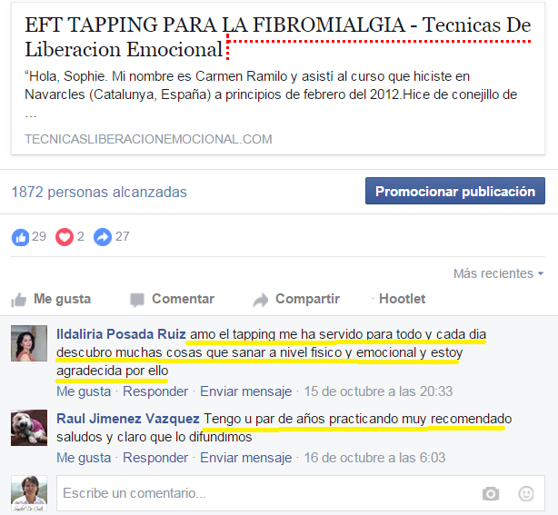 Testimonio Tapping Fibromialgia Facebook
